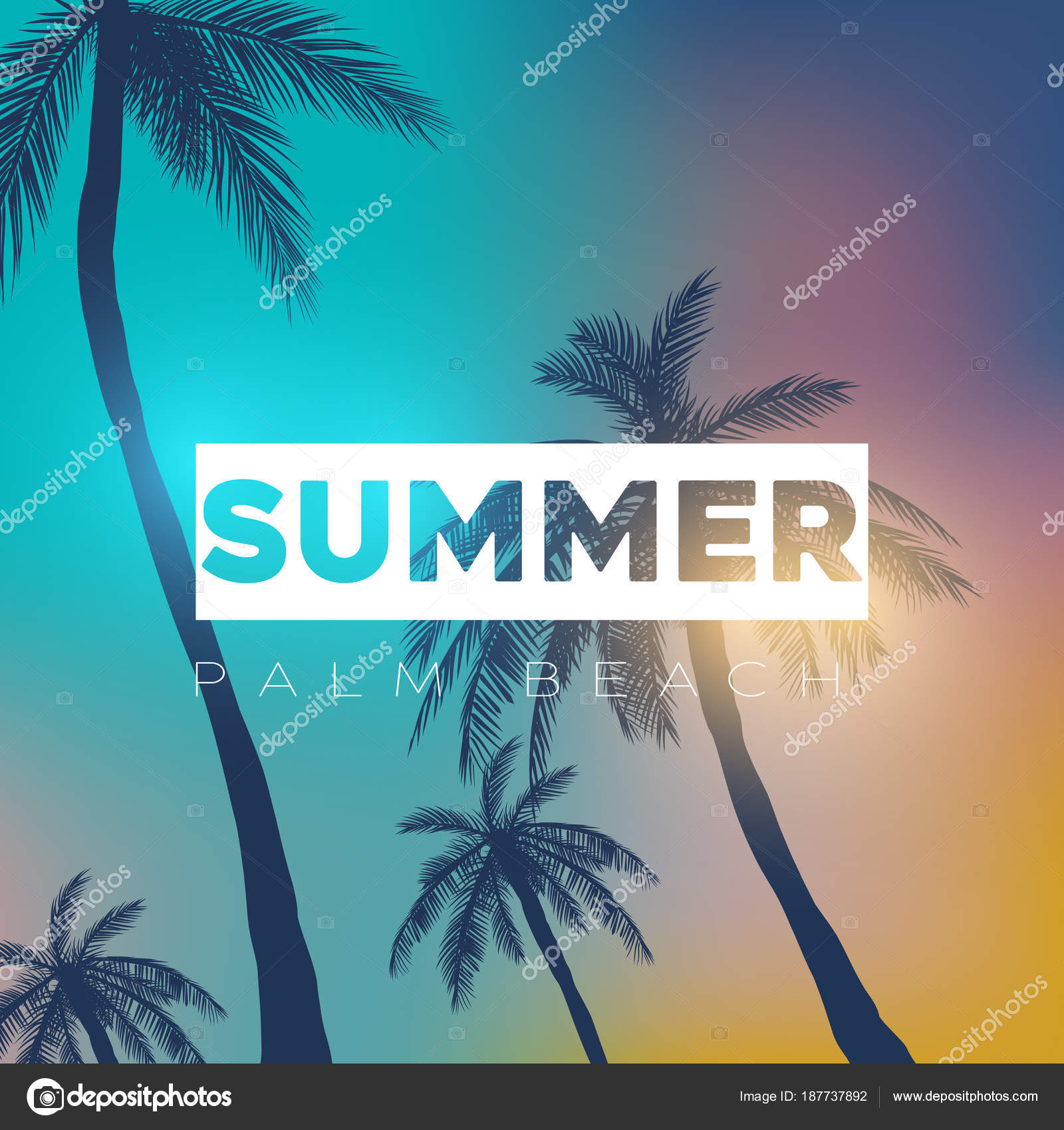 Summer California Tumblr Backgrounds Set Palms Sky Sunset Placard Stock Vector