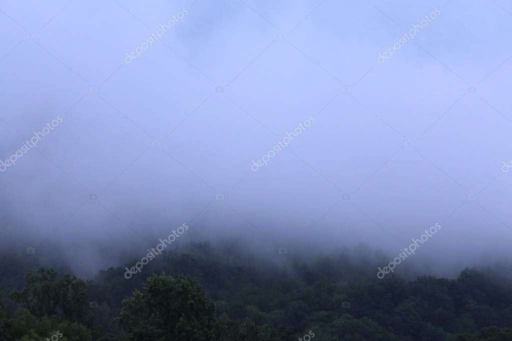 Very Misty Faded Smokey Mountains in Tennessee, USA