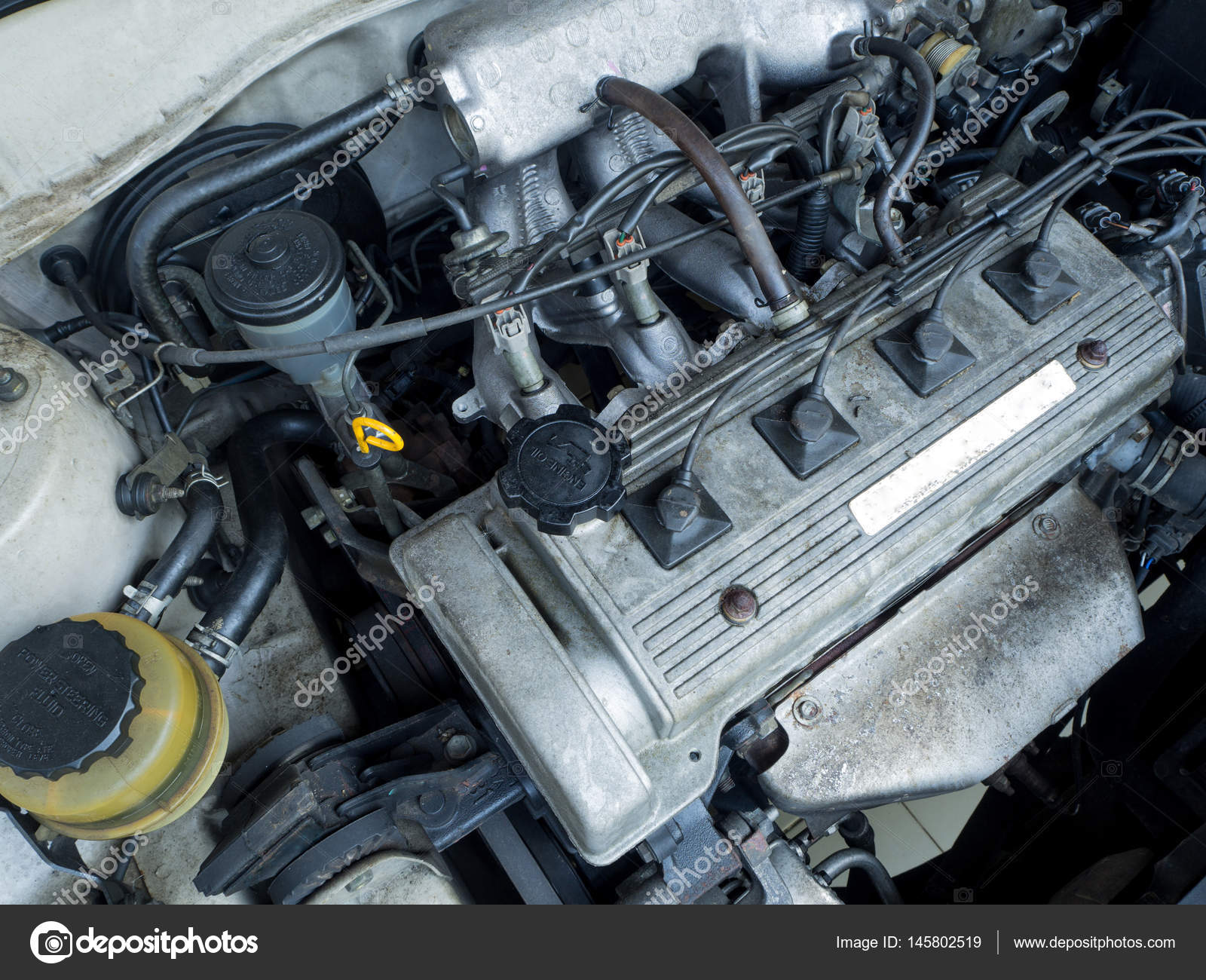 Close up old car engine full of oil stains — Stock Photo © Prot56 ...