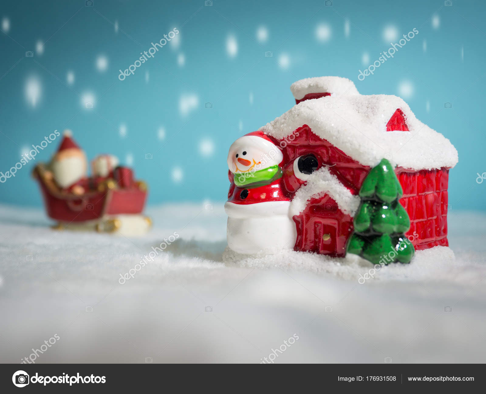 Happy Santa Claus Gifts Box Snow Sled Going Snow House — Stock Photo ...