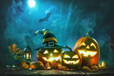 Halloween pumpkin head jack lantern with burning candles stock vector