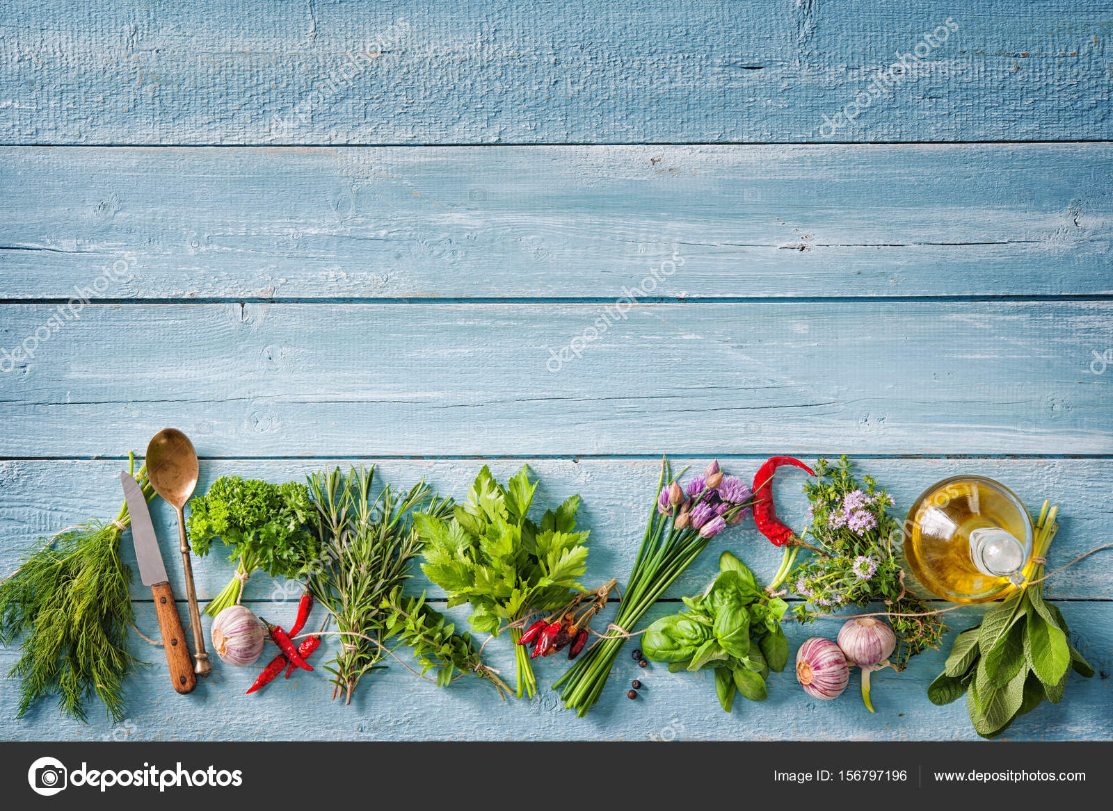 fresh herbs and spices on wooden table — Stock Photo © alexraths ...