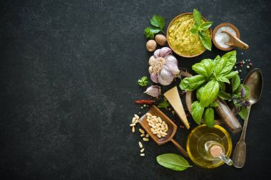 Ingredients for homemade green basil pesto