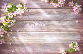 Photo Spring blooming branches on wooden background