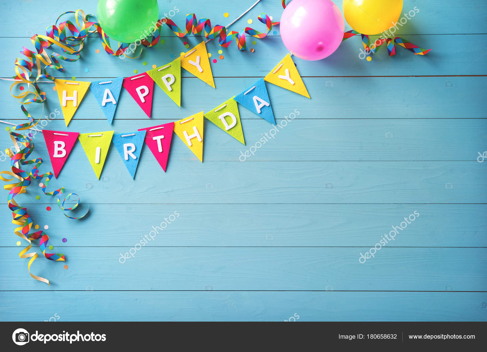 happy birthday party background with text and colorful tools stock