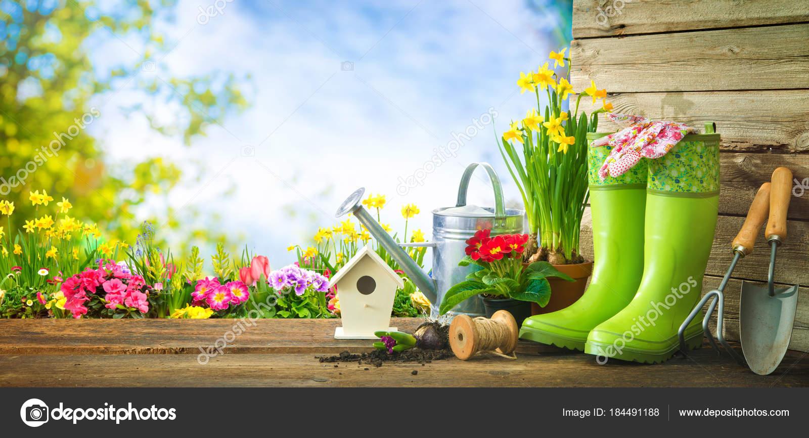 Herramientas De Jardinería Y Flores De Primavera En La