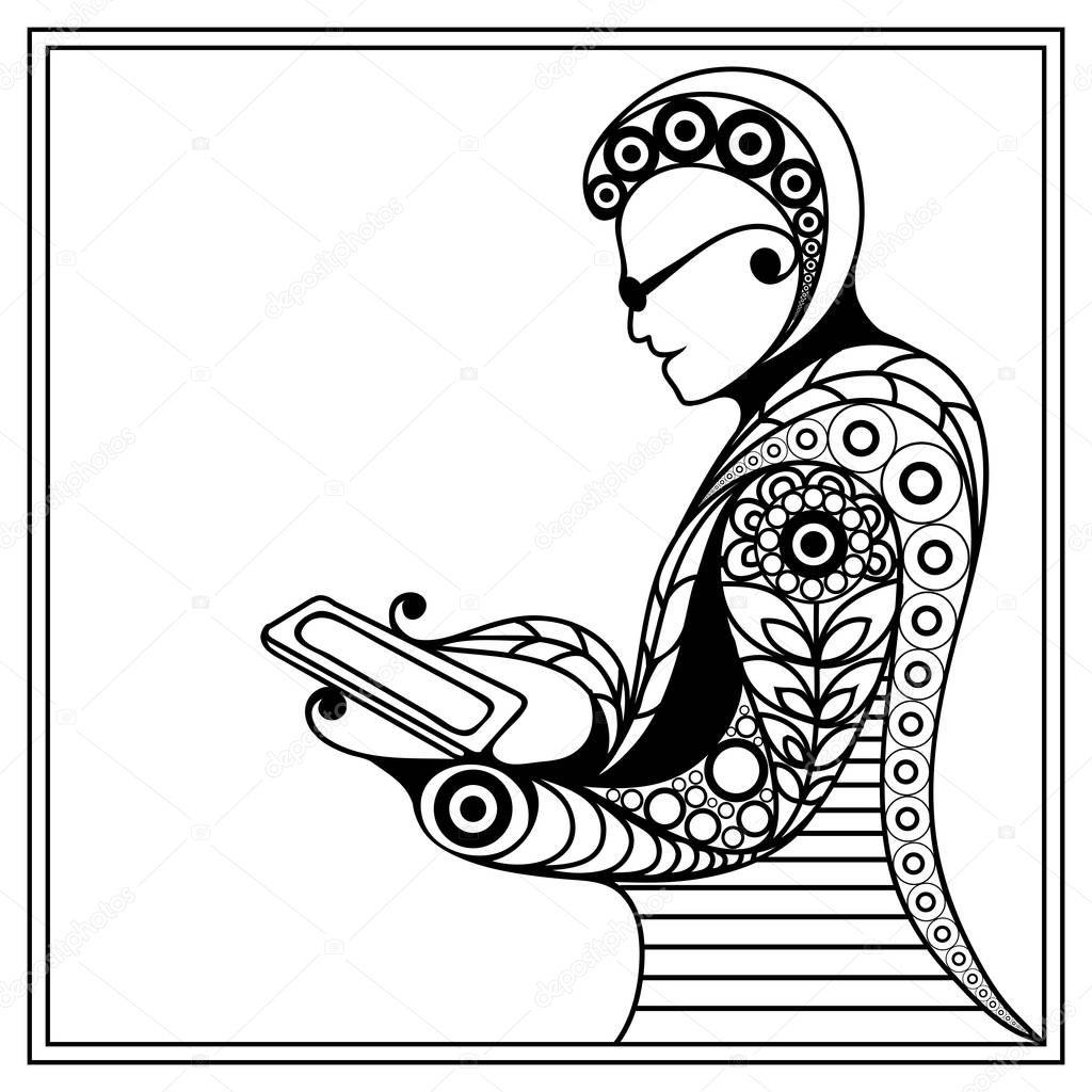 Bir Bilgisayar Kullanici 37 Ile Grafik Illustrasyon Stok Vektor