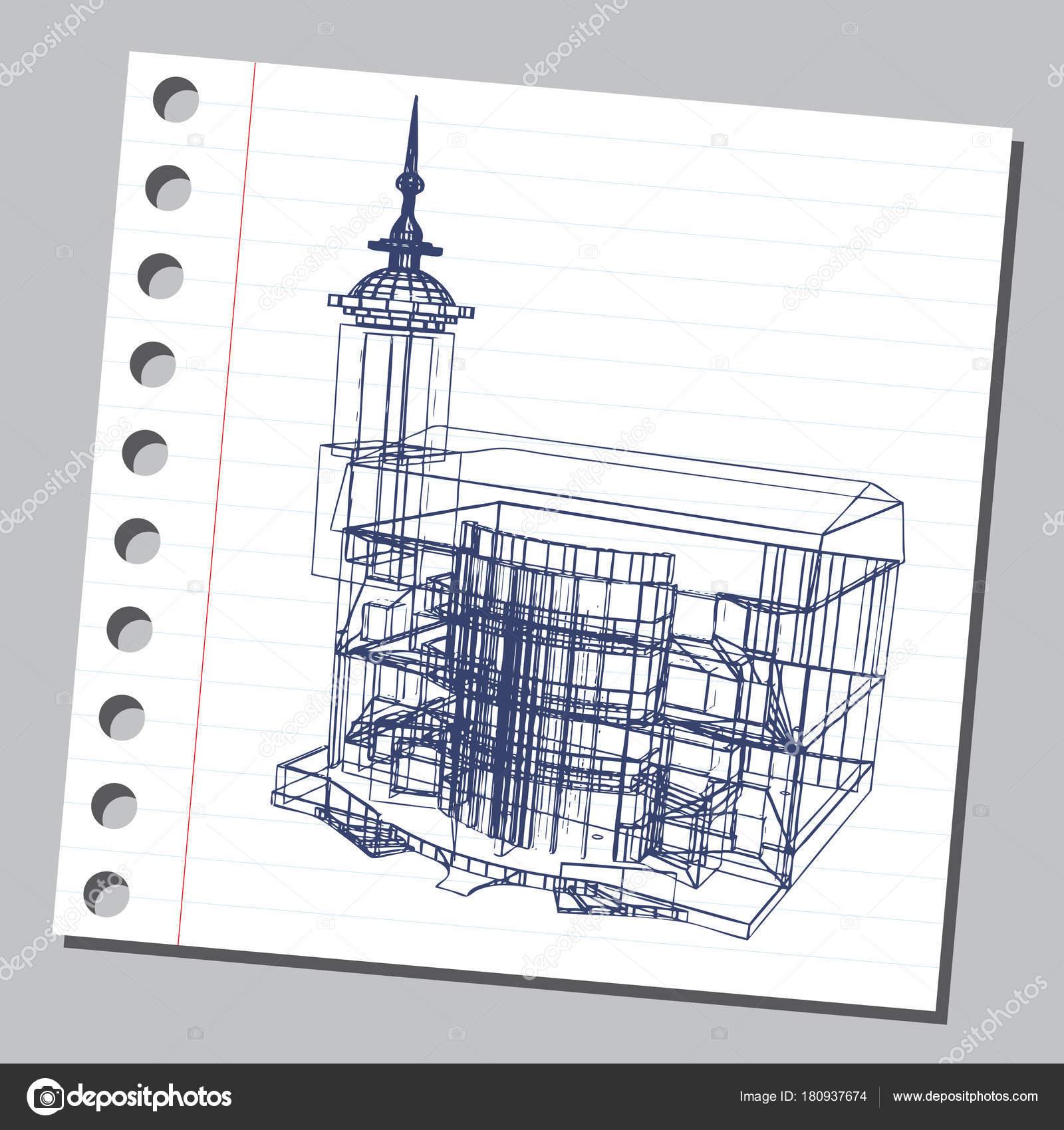 Grafische Darstellung Mit Dekorativen Architektur 18 Stockvektor