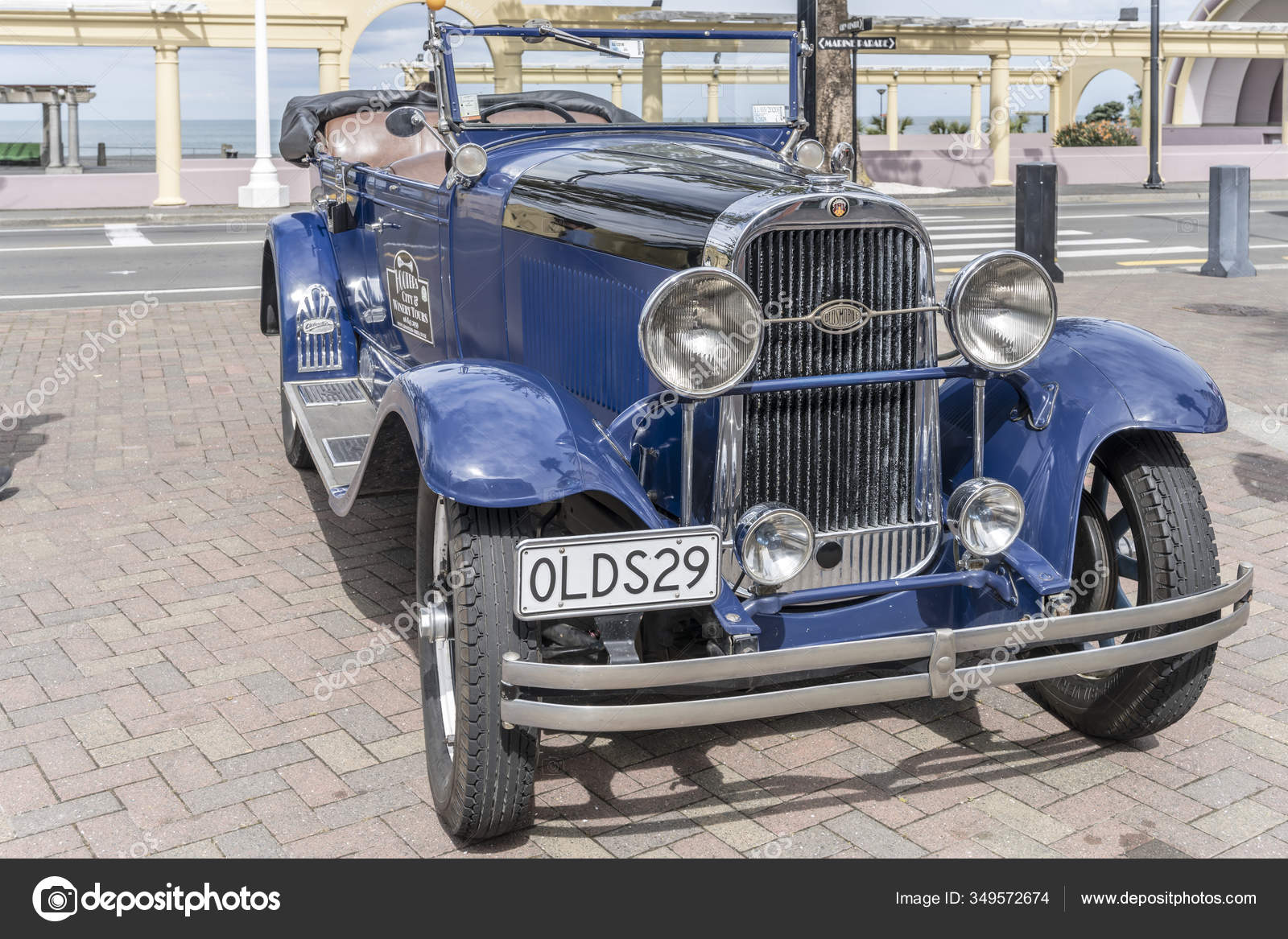 Napier New Zealand November 2019 Old Blue Convertible Car Street Stock Editorial Photo C Halpand 349572674