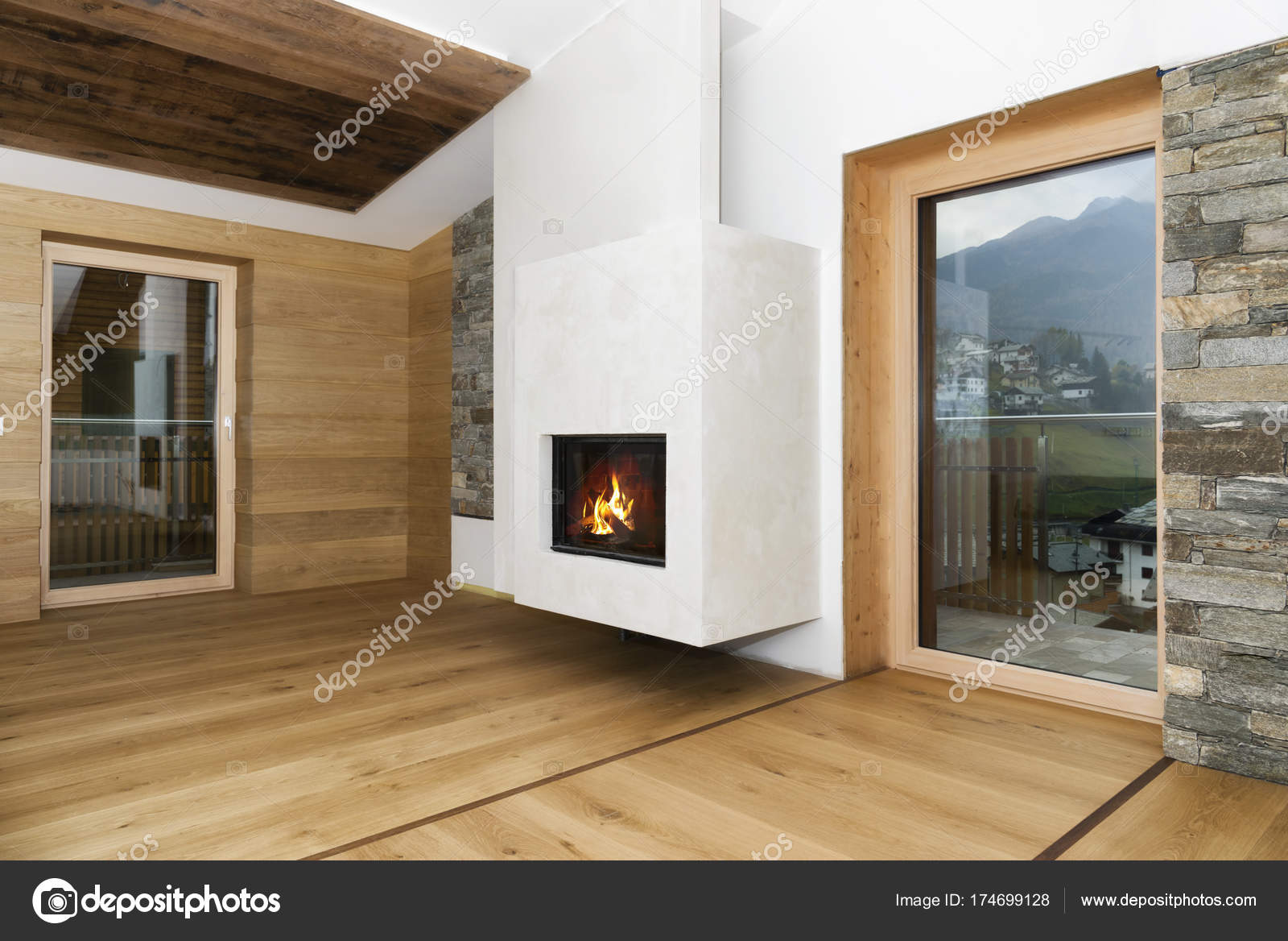 Openhaard In Woonkamer : Nieuwe lege woonkamer interieur met openhaard en hardhout