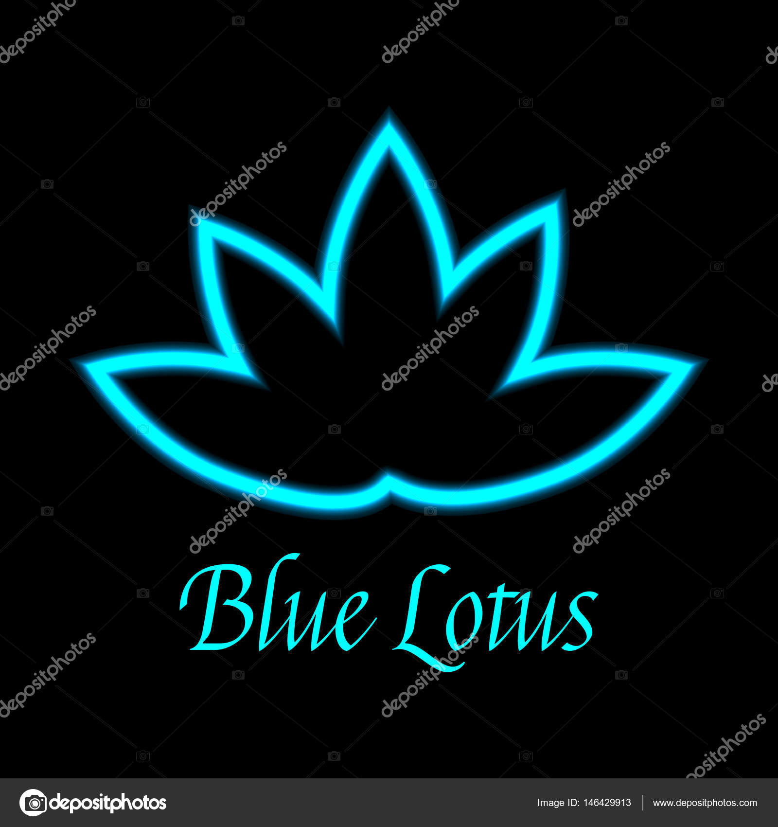 Icone Du Logo Fleur Lotus Bleu Image Vectorielle Foxyliam C 146429913