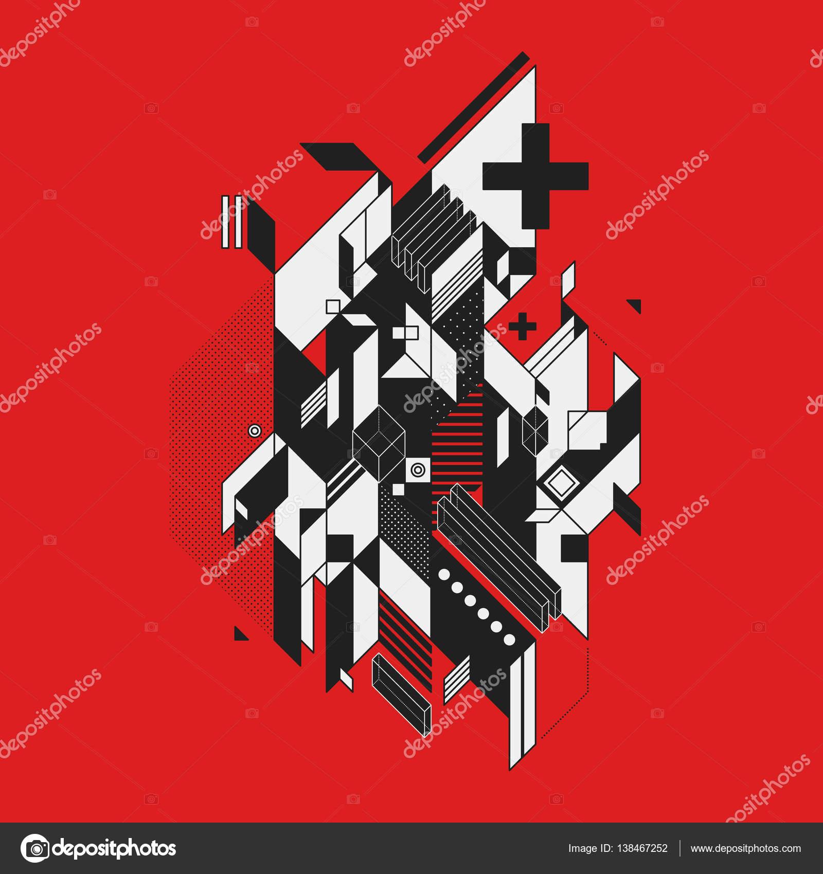赤の背景に抽象的な幾何学的な要...