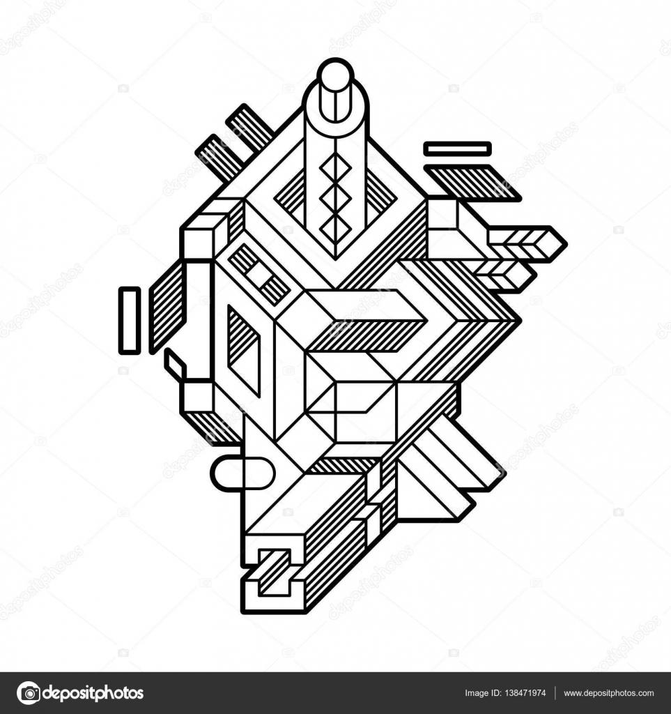 Composición geométrica abstracta con formas geométricas complejas ...