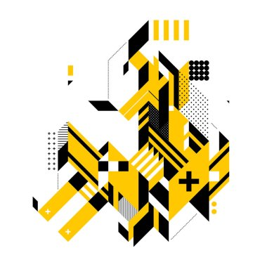 Abstract composition of complex geometric shapes. Style of modern art and graffiti. The design element is isolated on a white background, it's very simple to change main or background color.