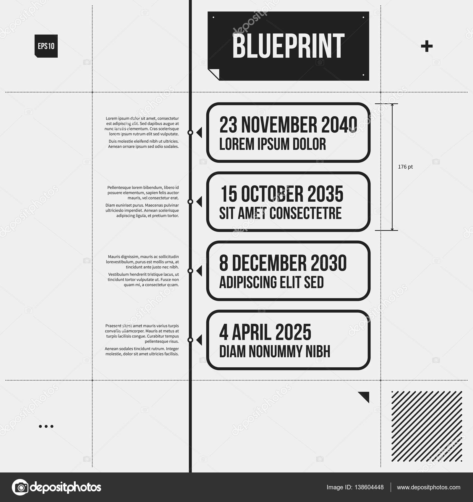 Timeline Template In Draft Style With Four Rectangle Banners Eps10