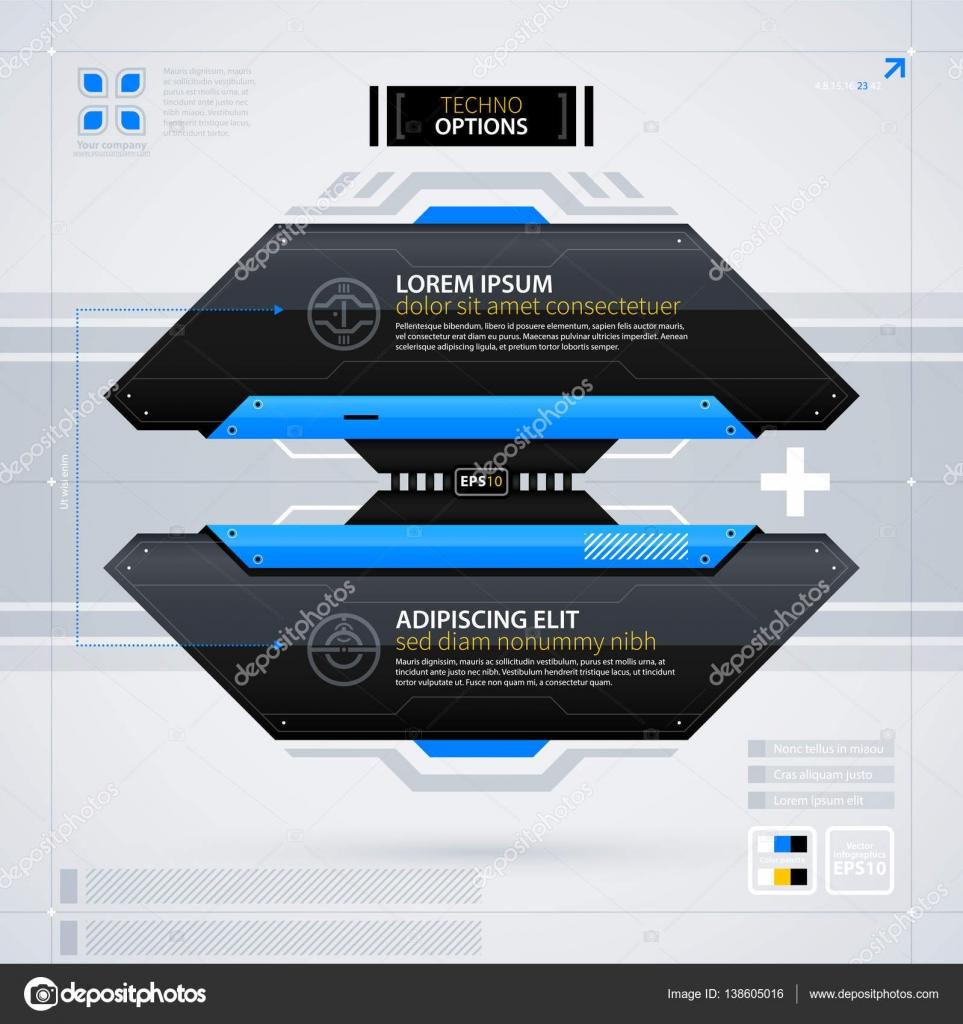 Plantilla de diseño web modernas con opciones/banners. Techno ...