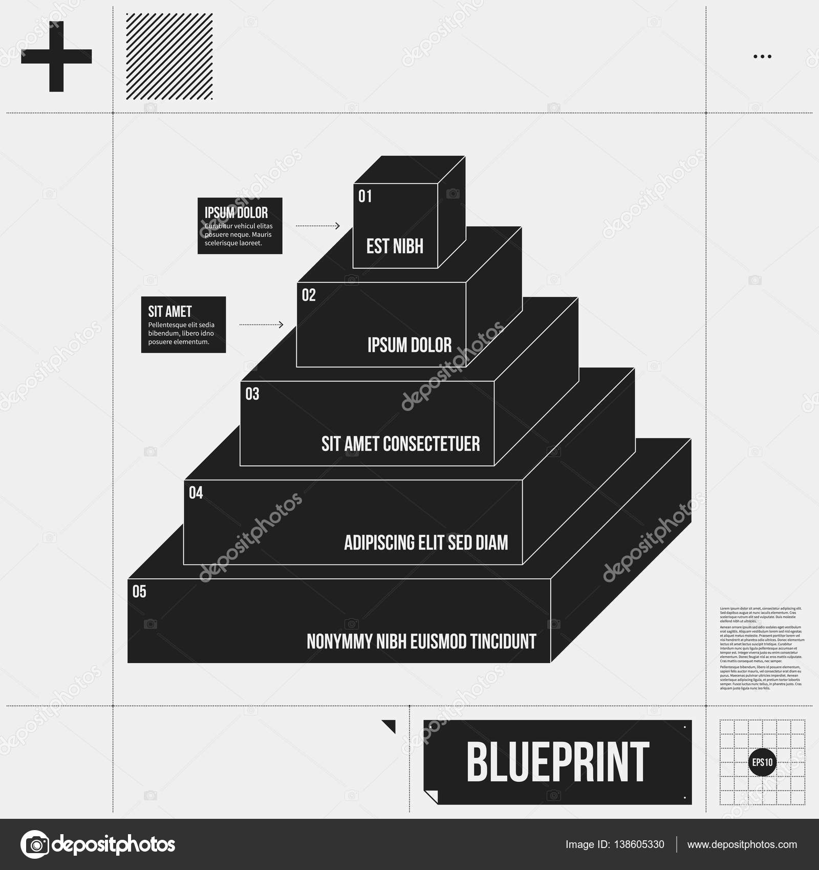 Pyramid chart template with five stages in draft style. EPS10 ...