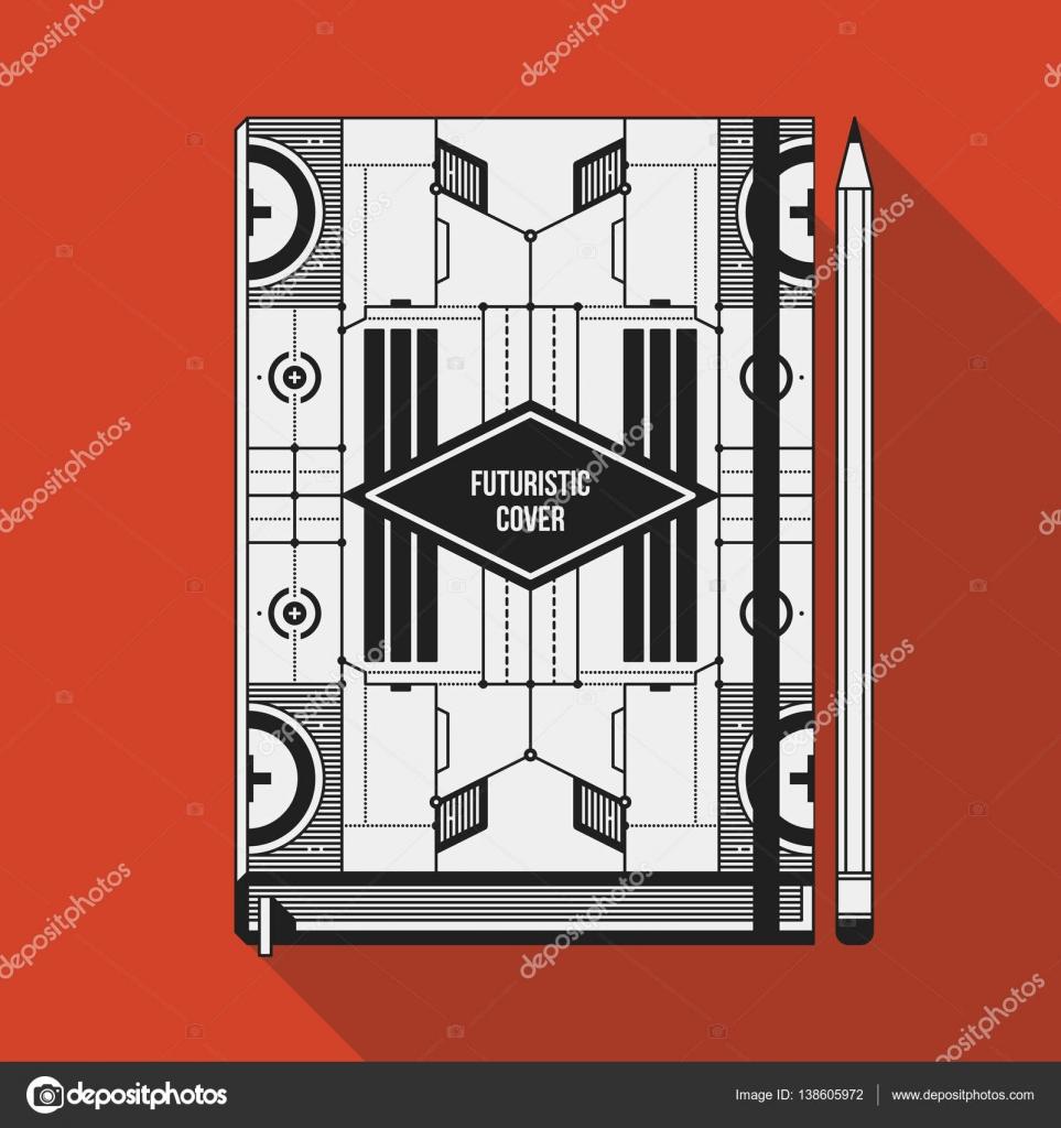 Plantilla de diseño de la cubierta de libro. Maqueta de la Notebook ...