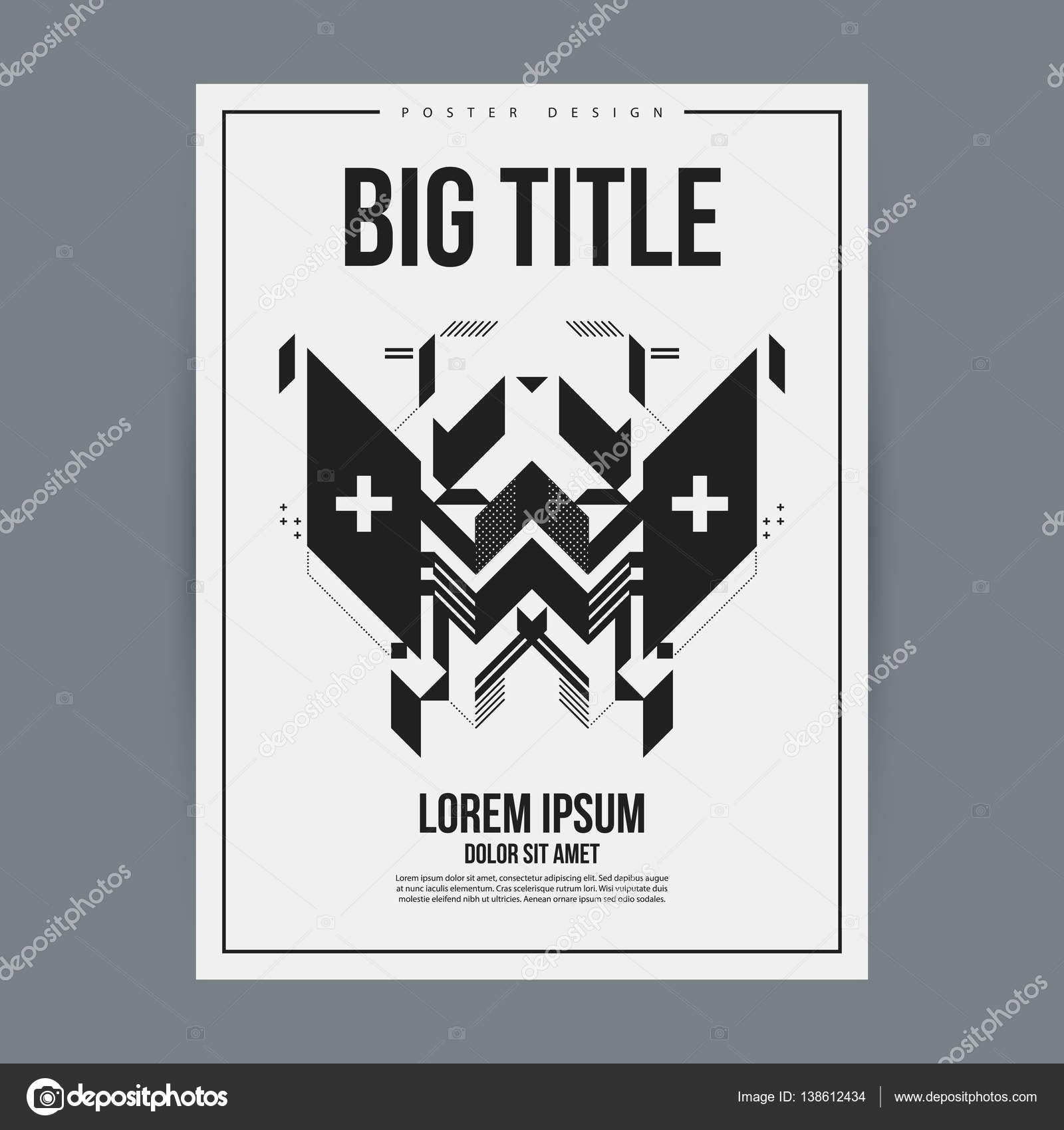 poster design template with abstract geometric element useful for