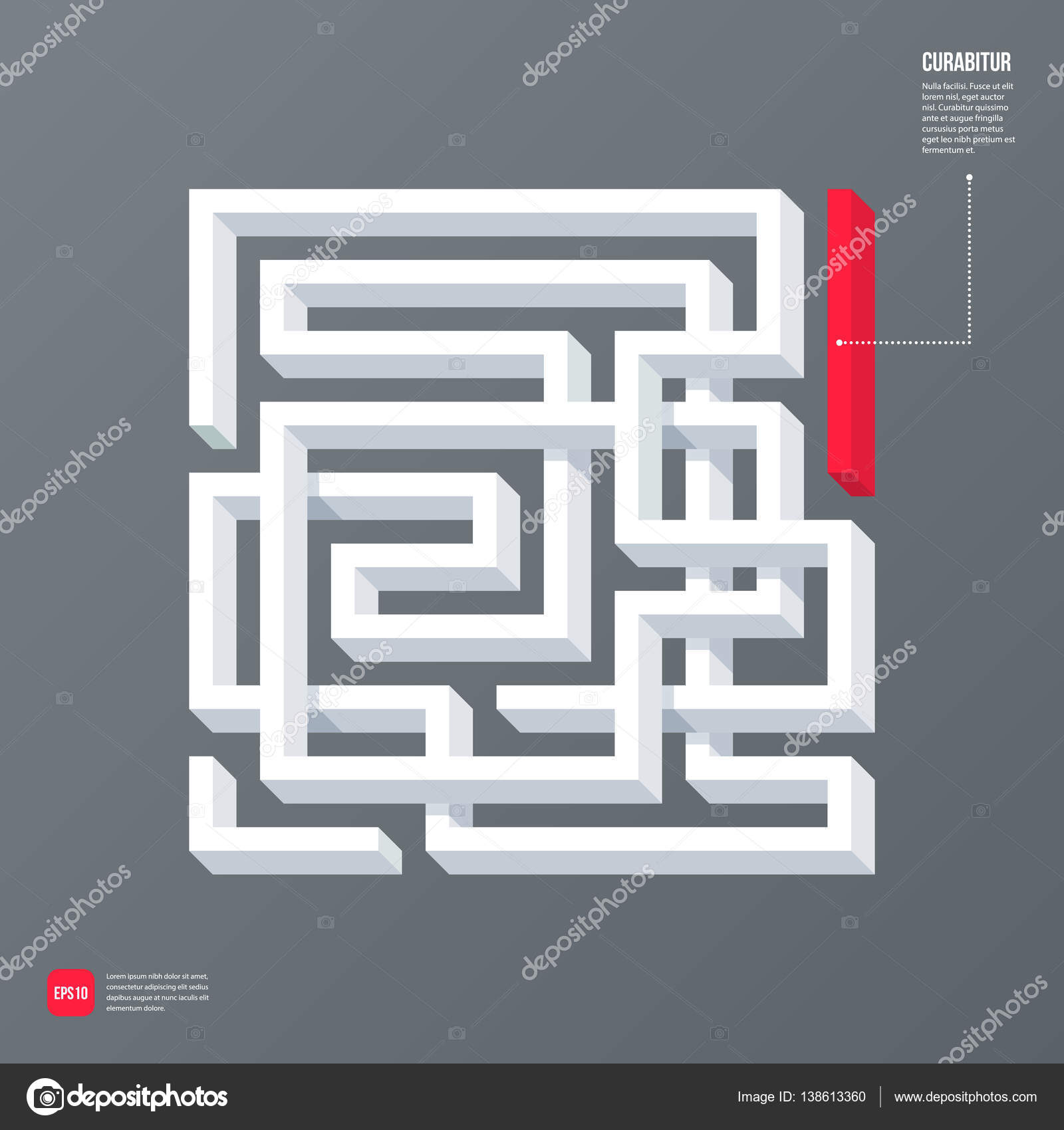 Modern business template with abstract 3d design element in a shape ...