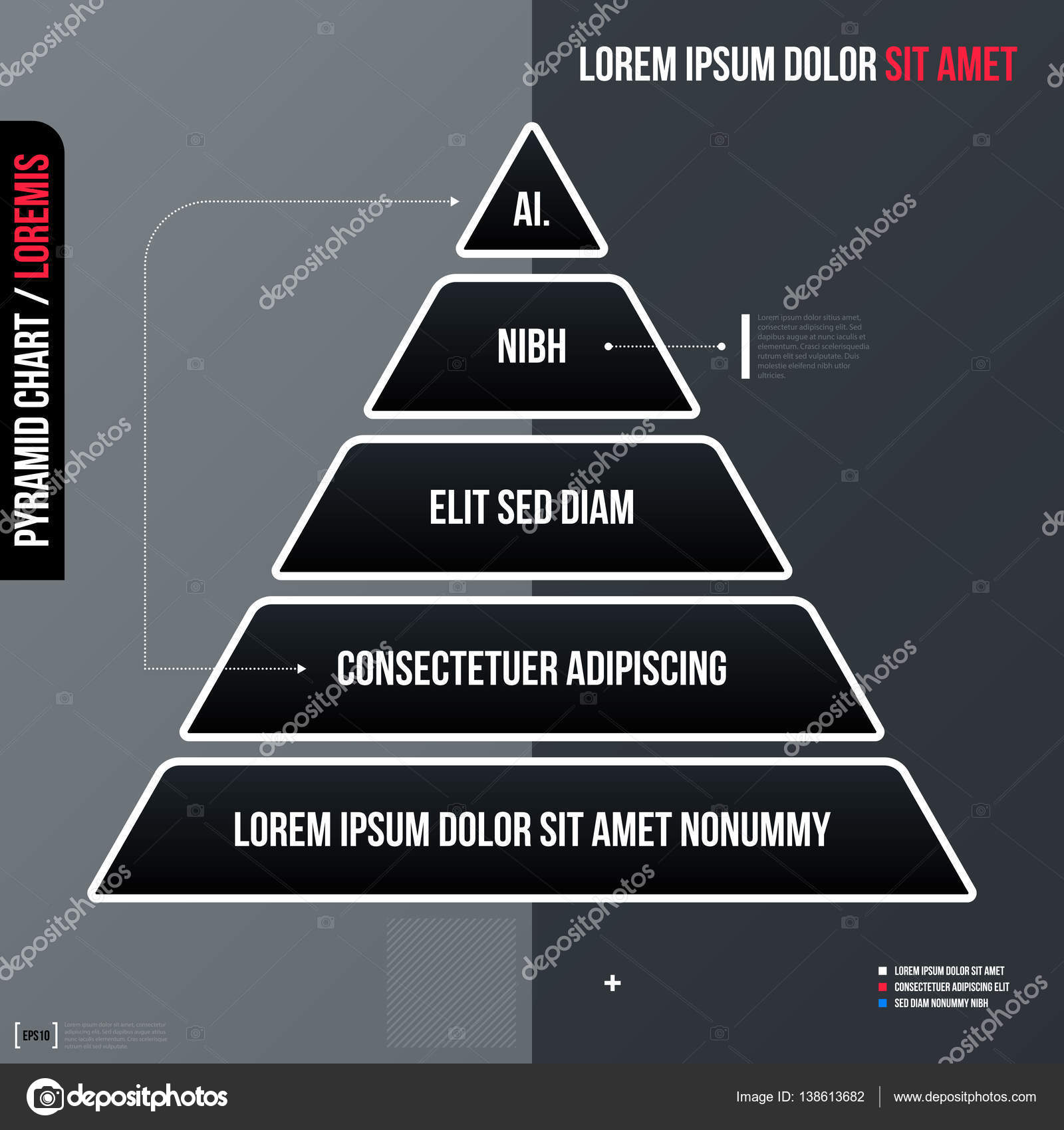 Modern business template, pyramid chart with five steps on gray ...