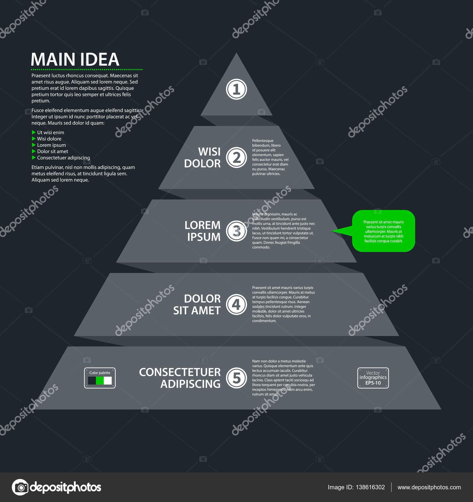 Modernes Design Pyramide Diagrammvorlage mit fünf Stufen im flachen ...