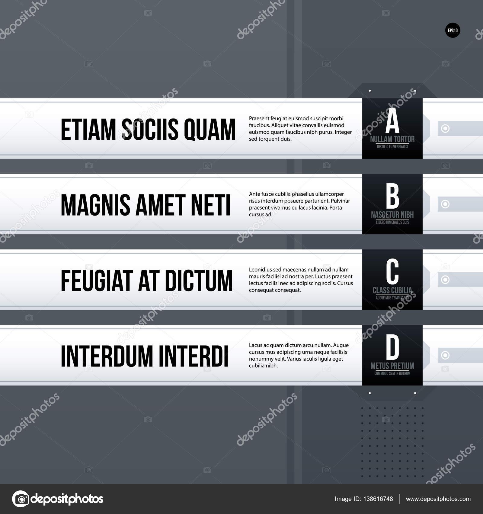 futuristic corporate menu list template on gray background useful