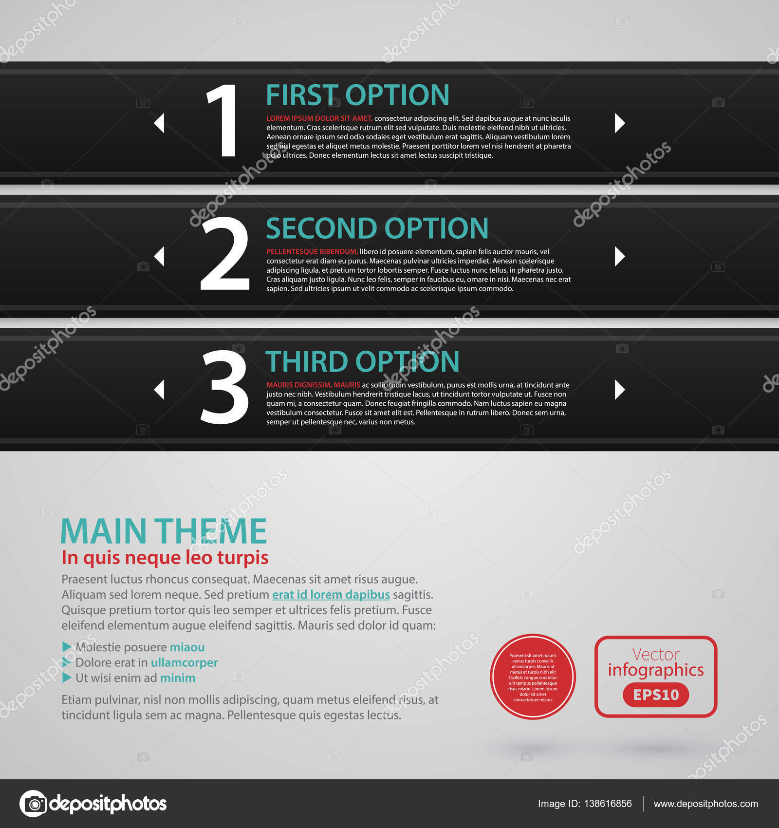 Modern web design template with three black horizontal banners ...