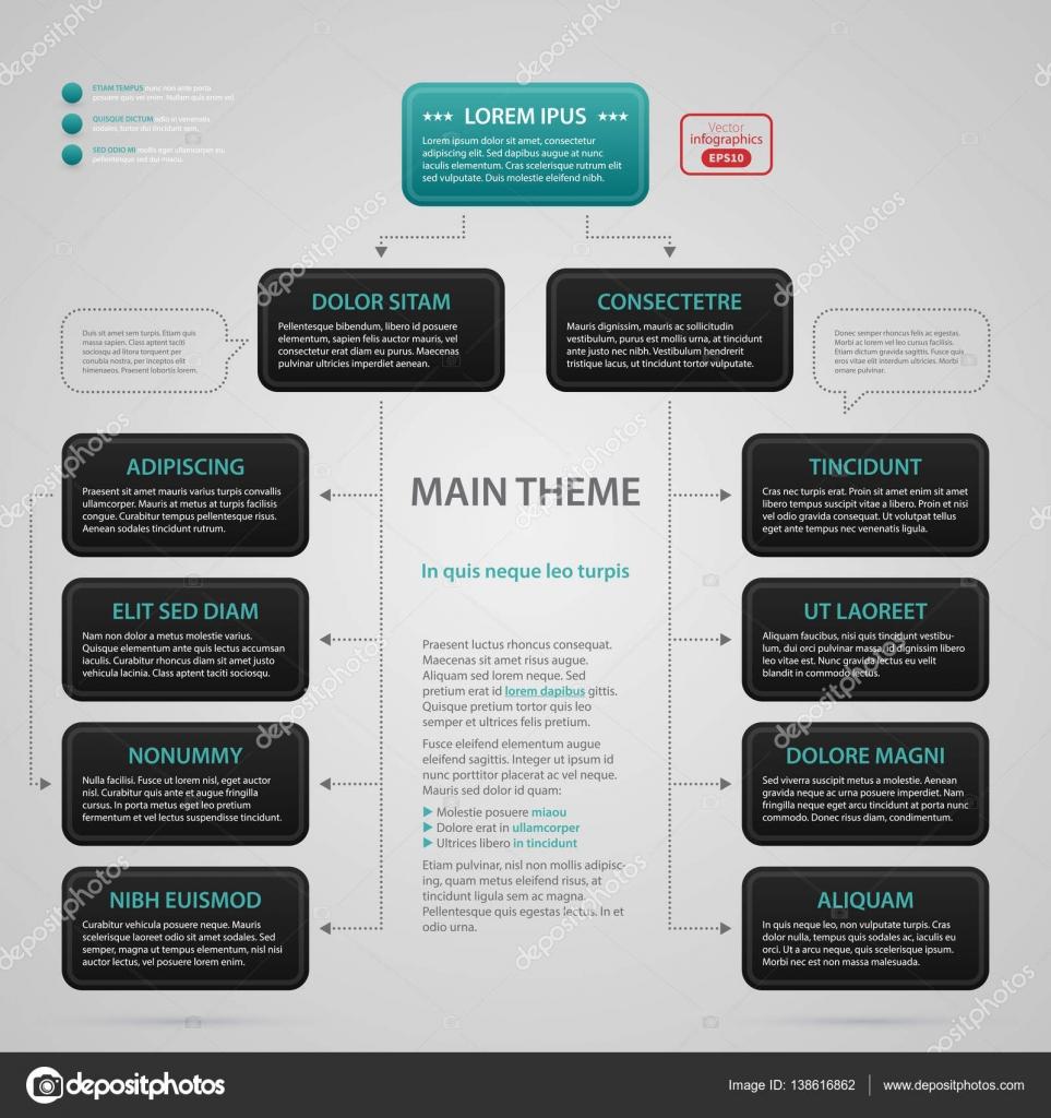 Moderne Web-Design-Vorlage mit komplexen Organigramm. Strenge ...