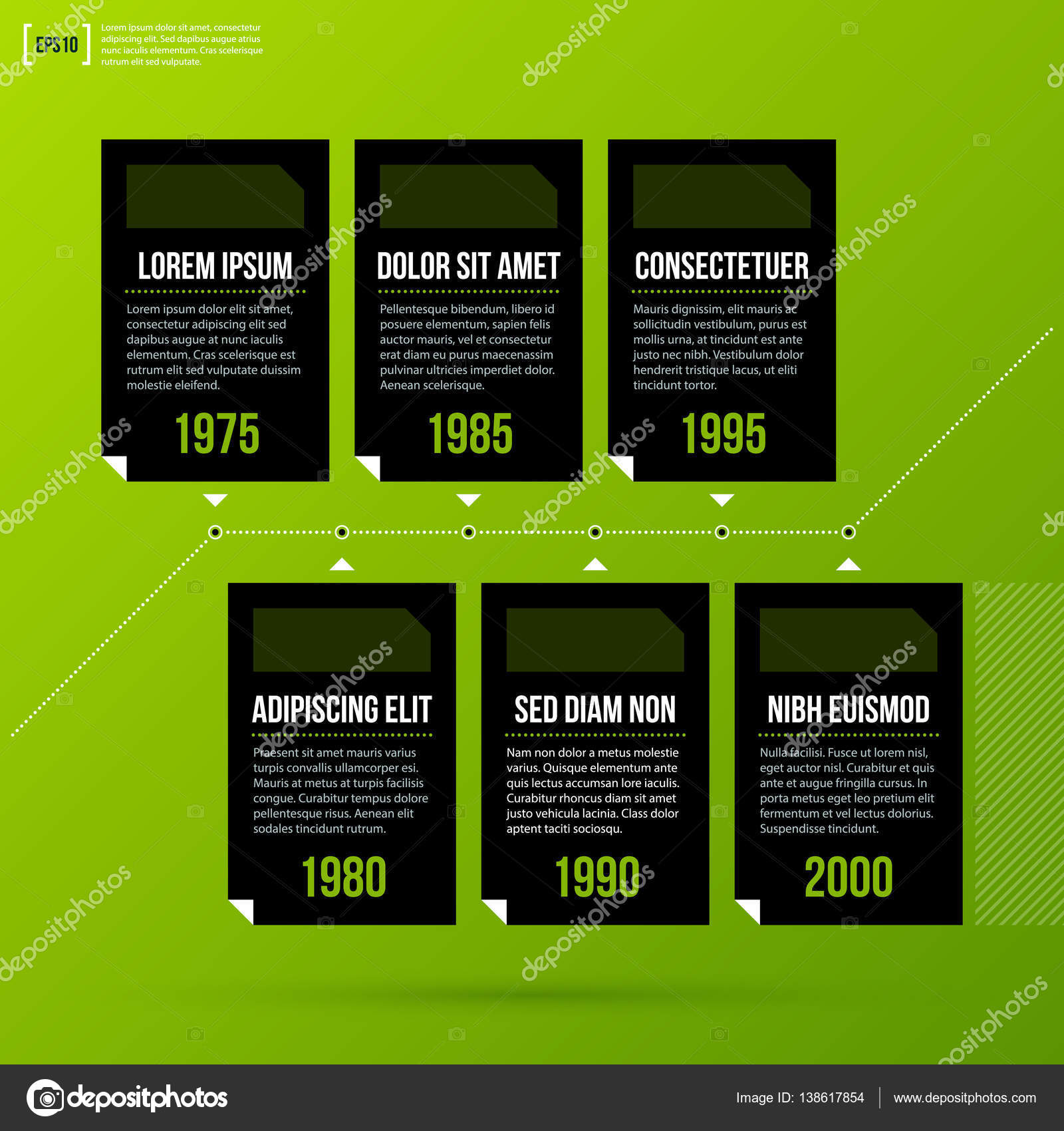 timeline template on fresh green background useful for