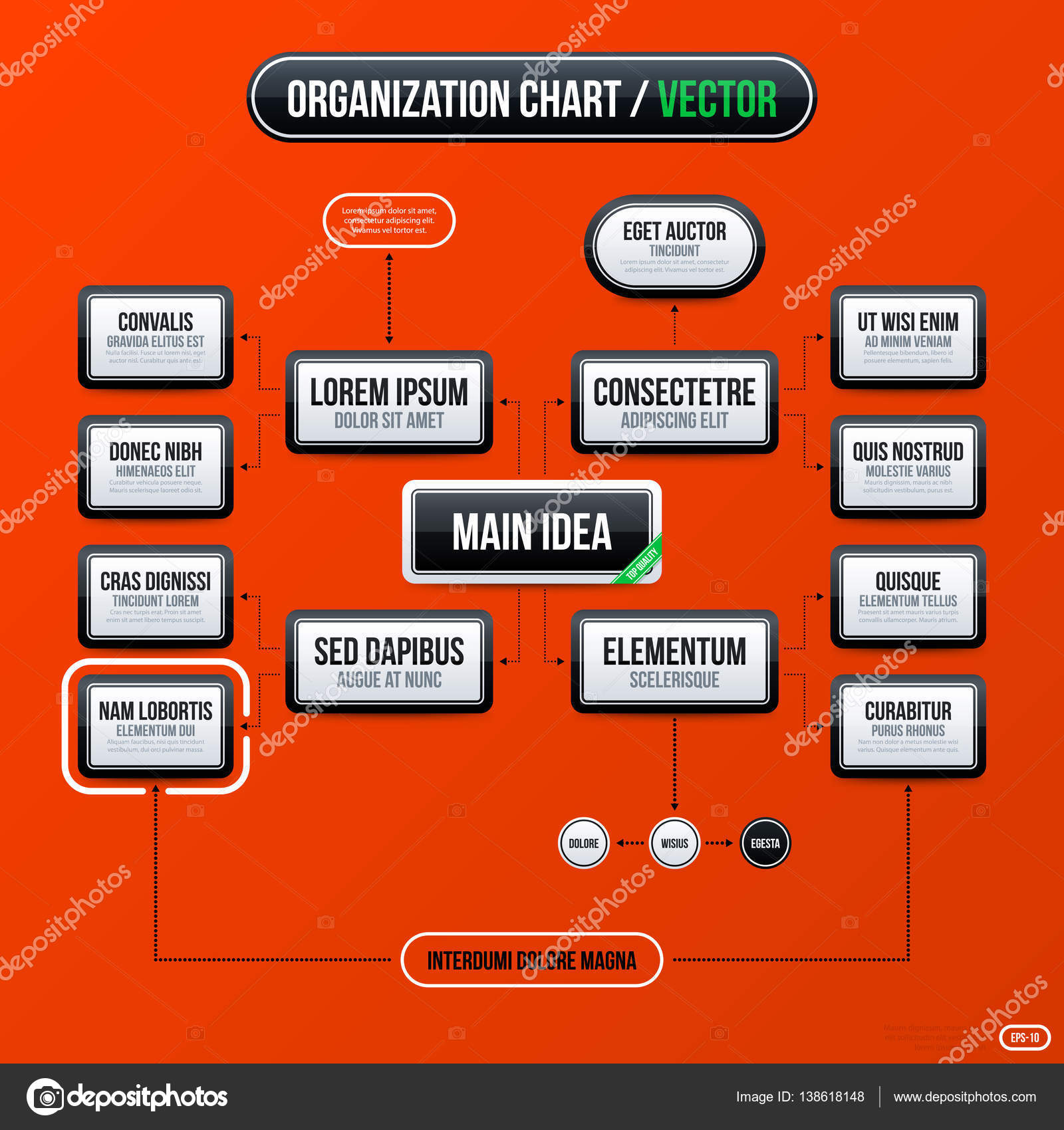 Corporate business organization chart template on bright orange corporate business organization chart template on bright orange background useful for presentations and advertising wajeb Choice Image