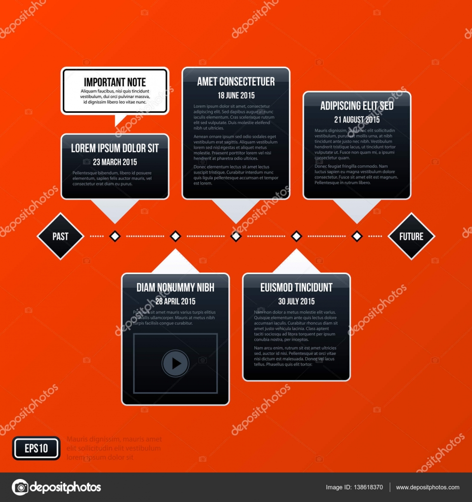 Corporate Business Timeline Template On Bright Orange Background. Useful  For Presentations And Advertising. U2014