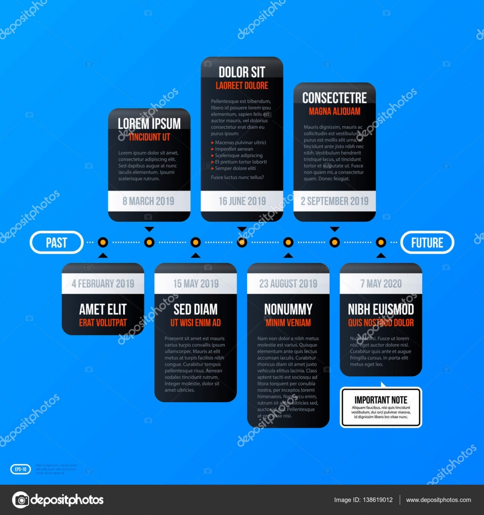 Corporate Business Timeline Template On Bright Blue Background. Useful For  Presentations And Advertising. U2014