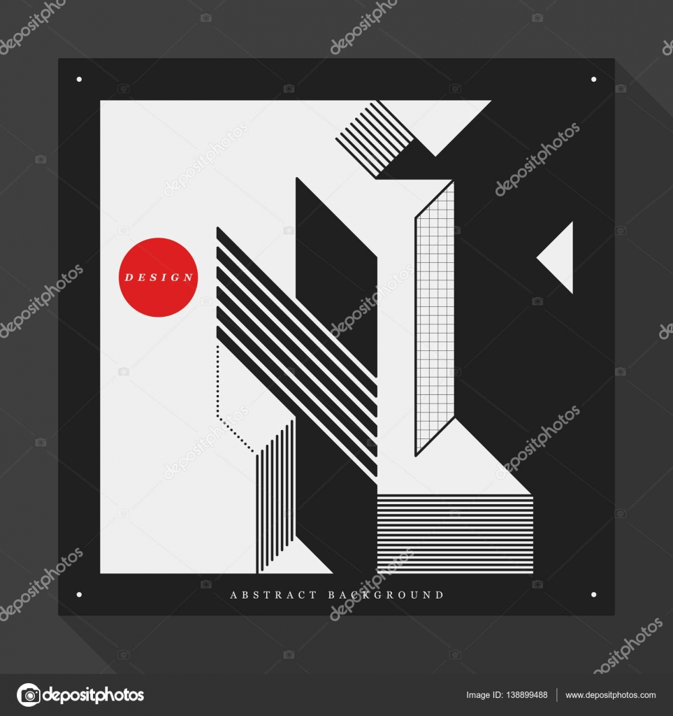 Poster/cover design template with abstract geometric elements on ...
