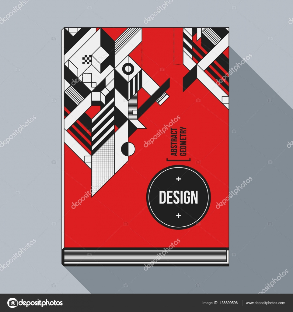 Book Cover Design Elements : Book cover design template with abstract geometric