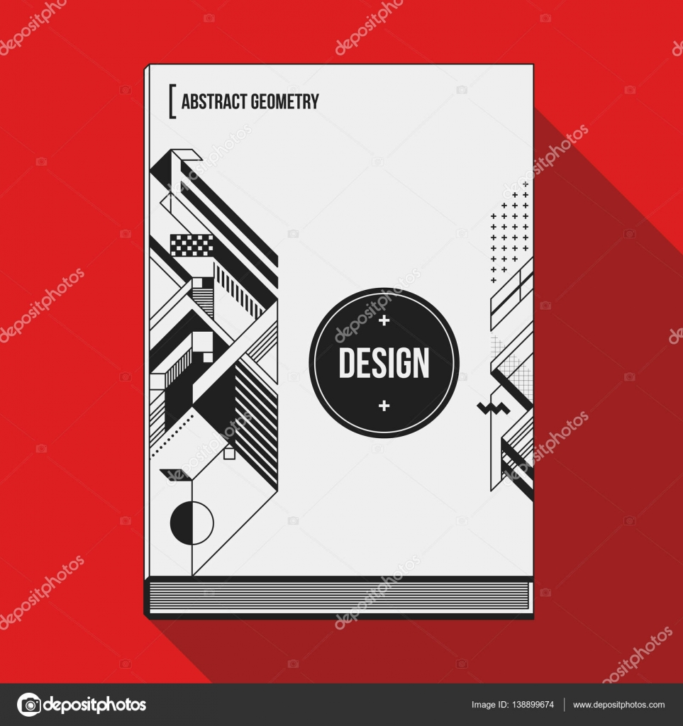 Book Cover Art Template ~ Book cover design template with abstract geometric