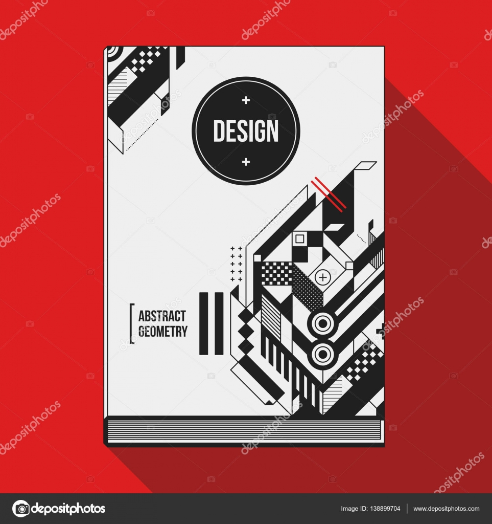 Book Cover Design Photo Elements : Book cover design template with abstract geometric