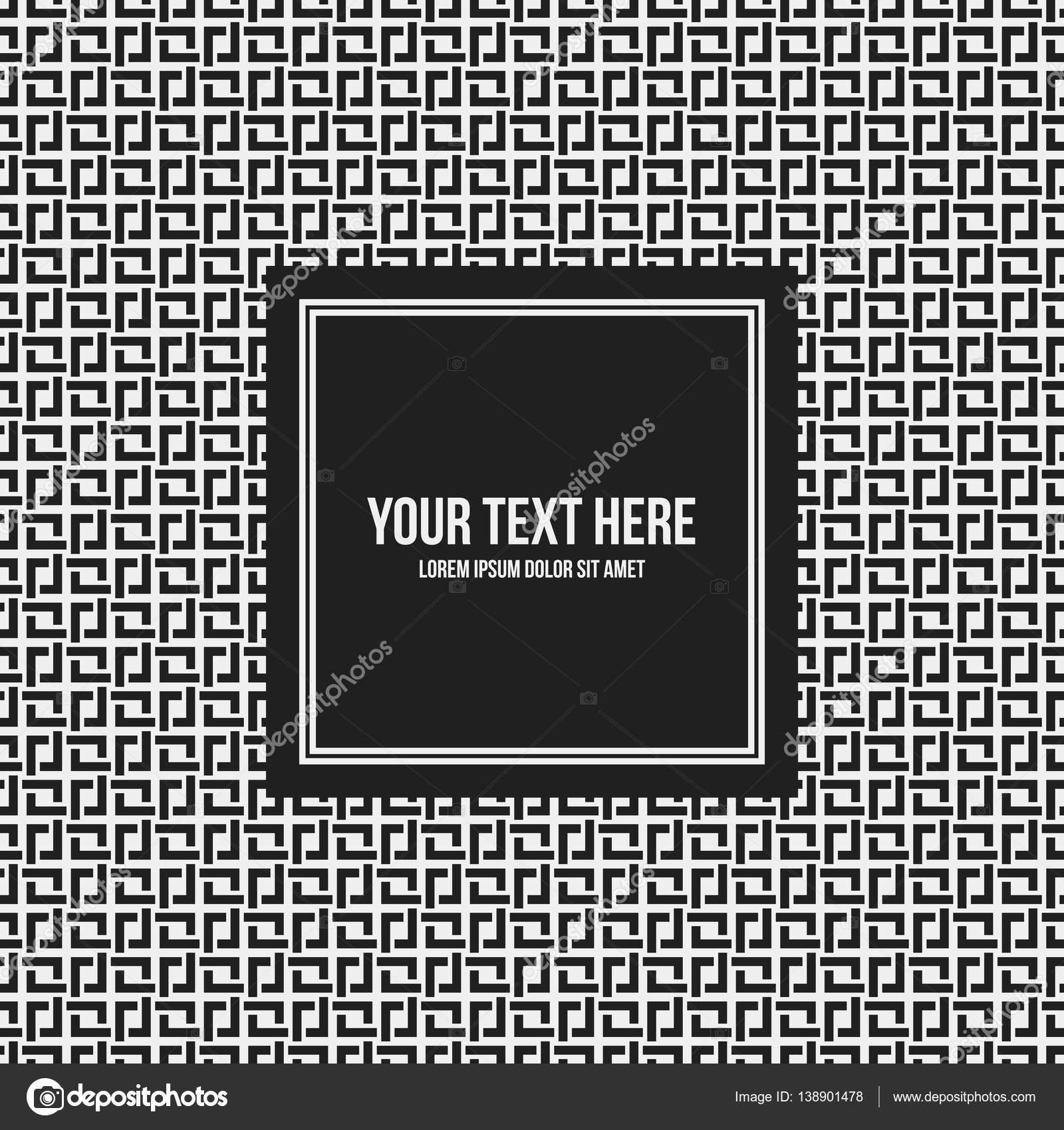 Plantilla de marco de texto con el patrón monocromo. Útil para ...