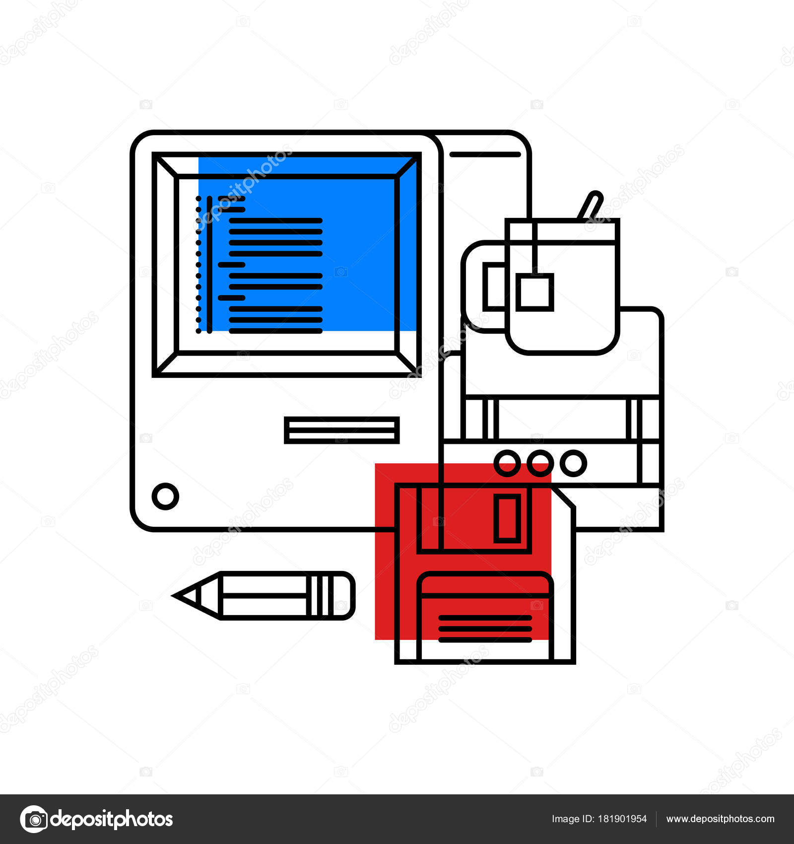 Colorful Illustration About Computer Science And Programming In Modern Outline Style College Subject Icon On White Background Vector By Miaou
