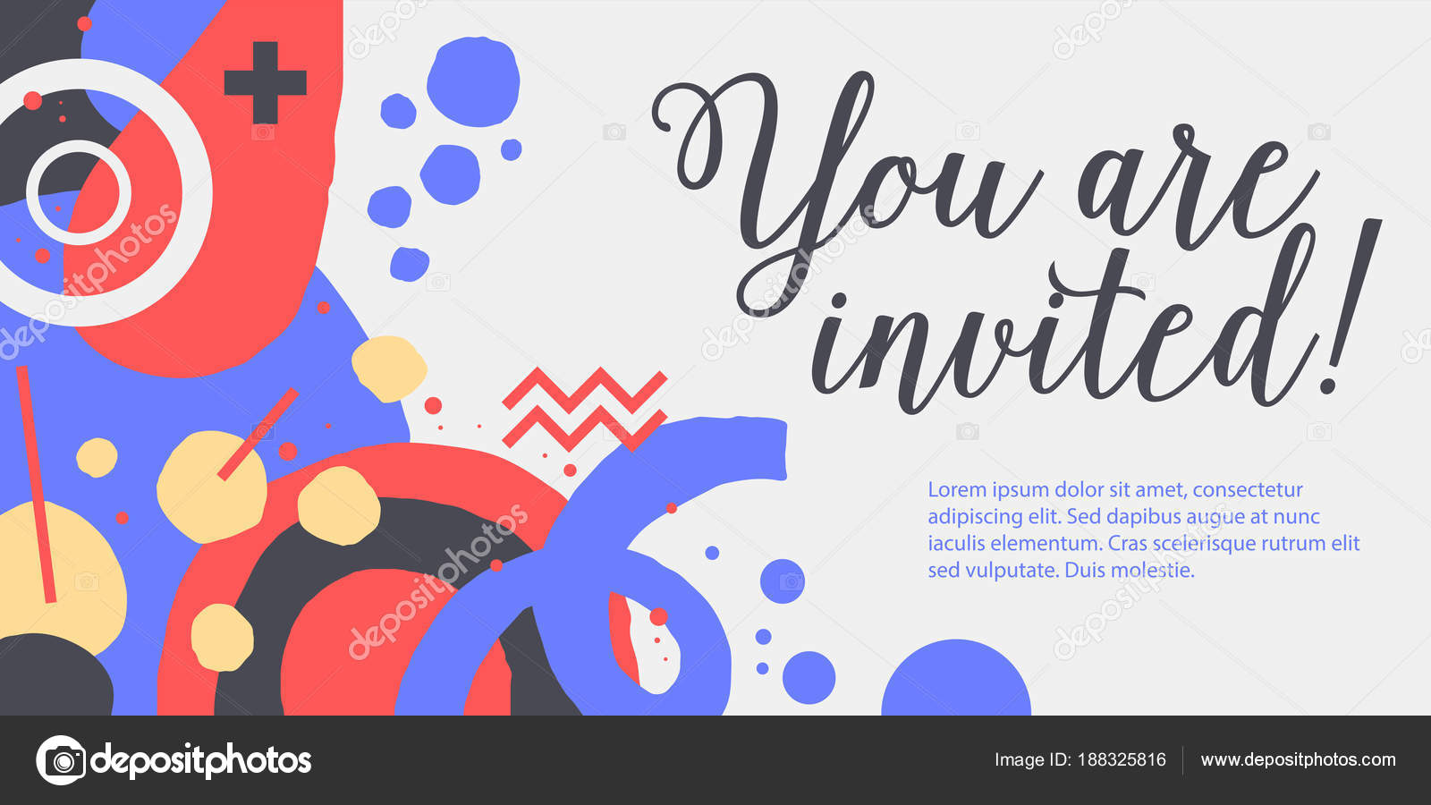 Vector Background Template With Funky Hand Drawn Elements Useful For Party Birthday Invitations