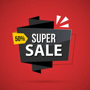 Super sale banner template in business origami style on deep red background
