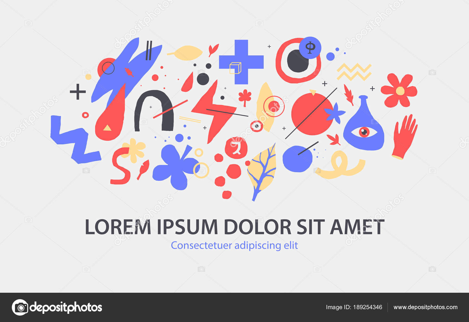Vector background template with funky hand drawn elements. Useful ...