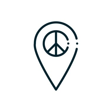 Pin peace and human rights line vector illustration icon