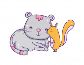 cute little squirrel and gray cat catoon animals