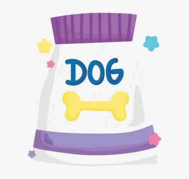 Package food dog domestic cartoon animal, pets vector illustration icon