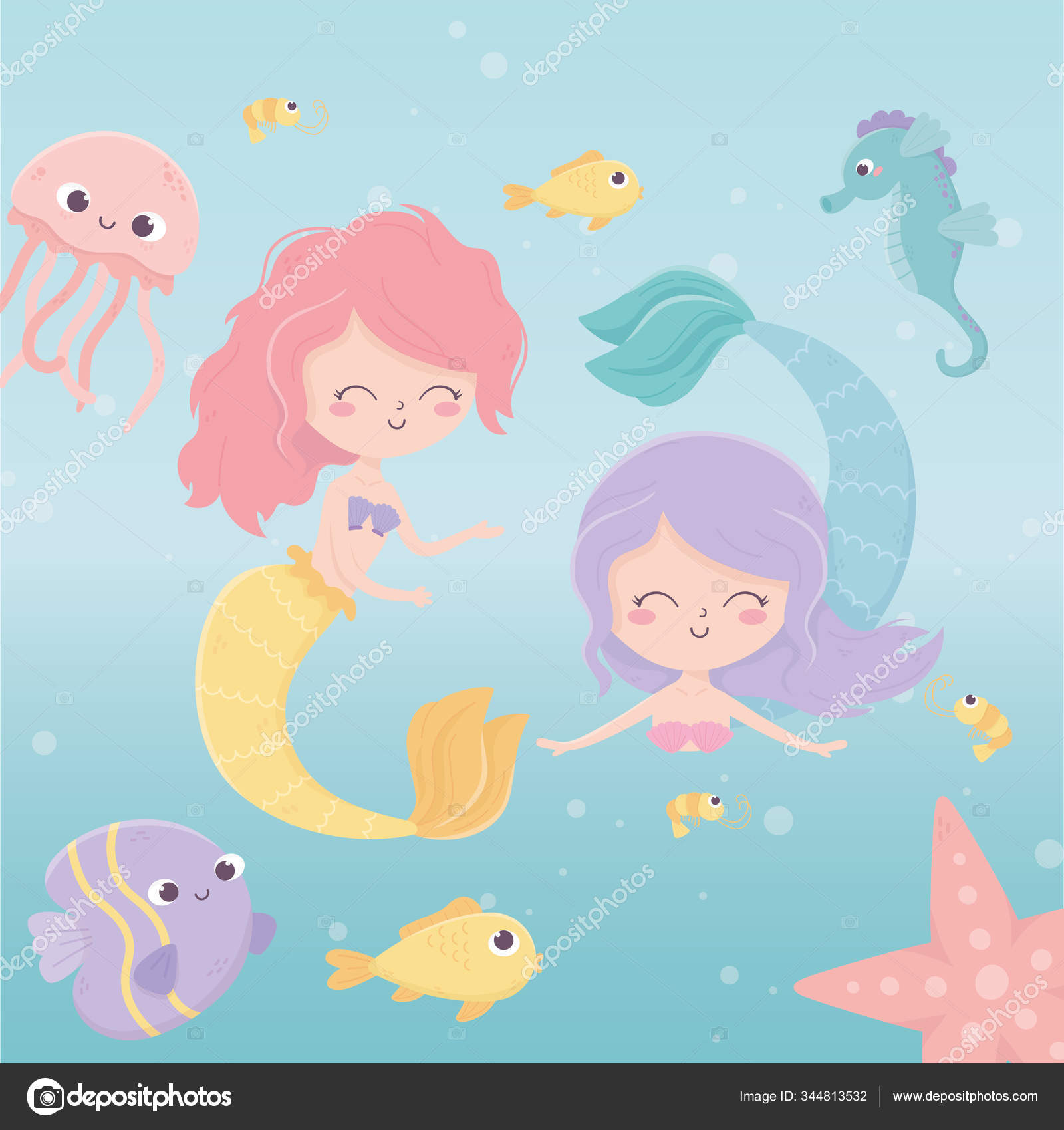 Putri Duyung Ubur Ubur Gurita Bintang Laut Ikan Udang Kartun Di Bawah Laut Stok Vektor C Stockgiu 344813532
