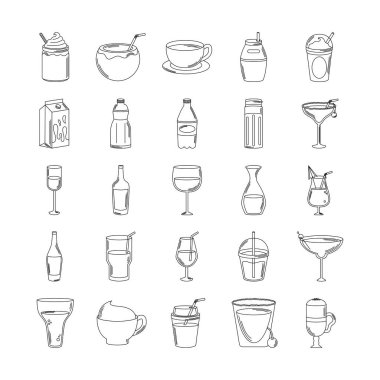 Drinks beverage glass cups bottle alcoholic liquor icons set vector illustration line style icon icon