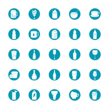 Drinks beverage glass cups bottle alcoholic liquor icons set vector illustration blue block style icon icon