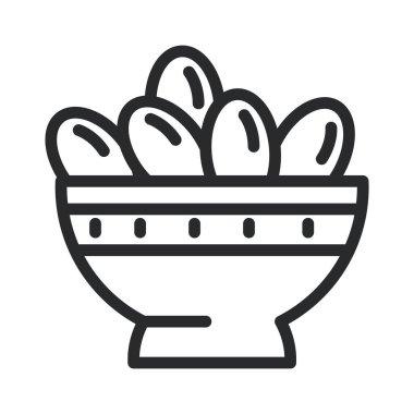 iftar meal ramadan arabic islamic celebration line style icon