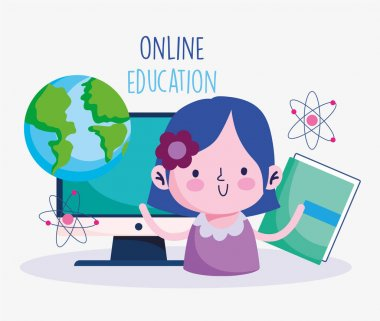 education online, cute girl with book and computer world study, coronavirus pandemic